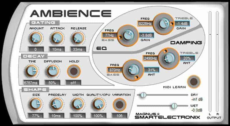 Ambience is a free reverb VST plugin by Magnus.