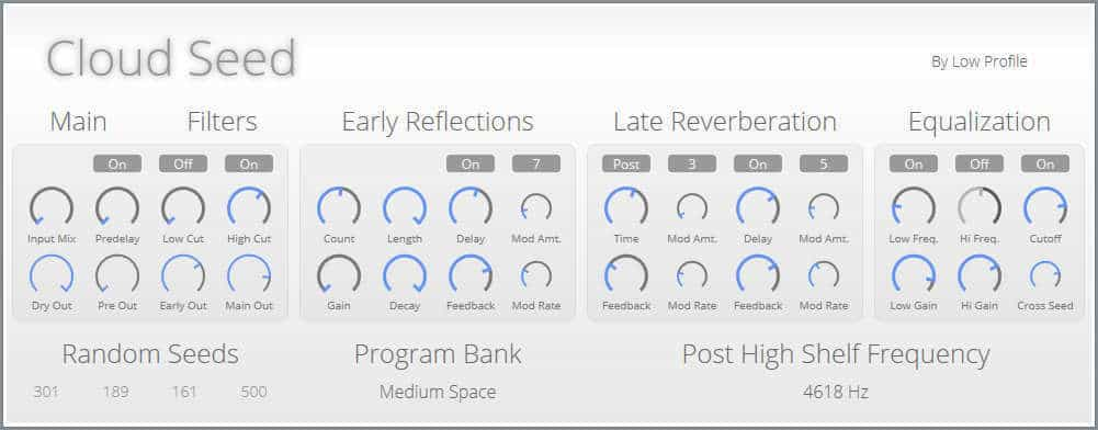 Cloud Seed is a free reverb VST plugin by Low Profile.