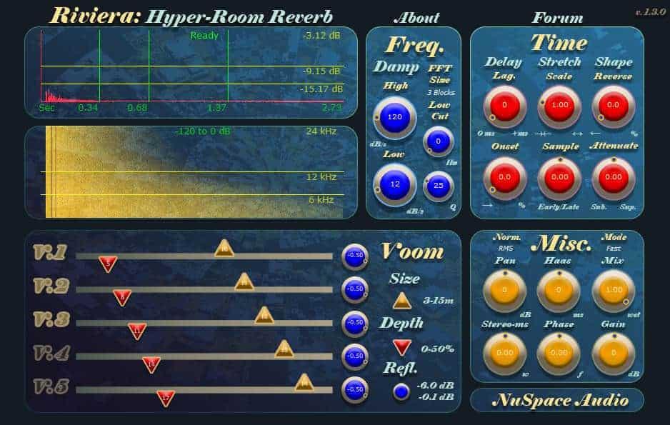 Riviera reverb VST plugin by NuSpace Audio