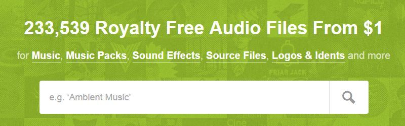 Online audio marketplaces for royalty free music.