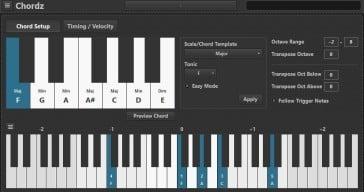 Chordz free MIDI VST plugin by CodeFN42.