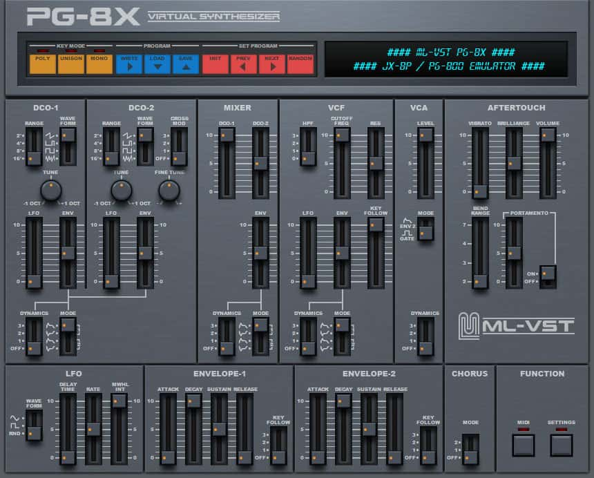 The new PG8X user interface in all its glory.