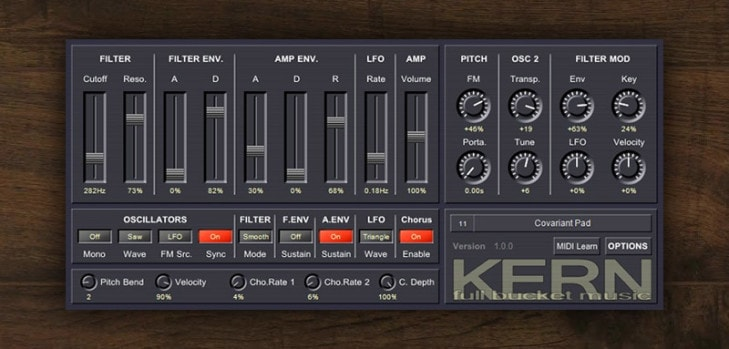 Kern MIDI controlled synthesizer by Full Bucket Music.