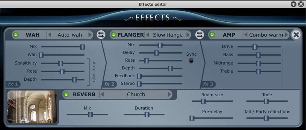 The effects panel in Pianoteq 5.