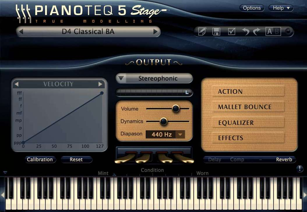 Pianoteq 5 Stage and the D4 user interface.