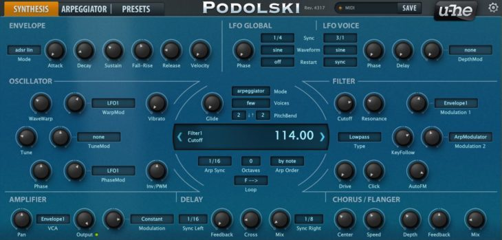 Podolski FREE VST3 Synthesizer by U-He!