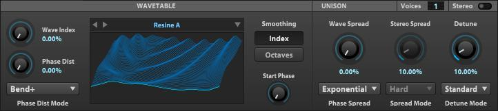 The wavetable oscillator features tons of waveshaping firepower.