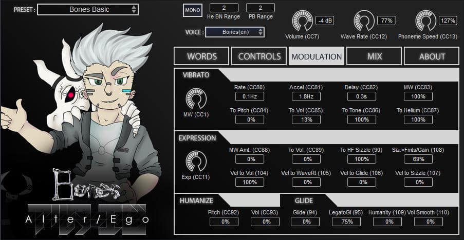 Free Bones Voice Bank For Plogue Alter/Ego Voice Synthesizer