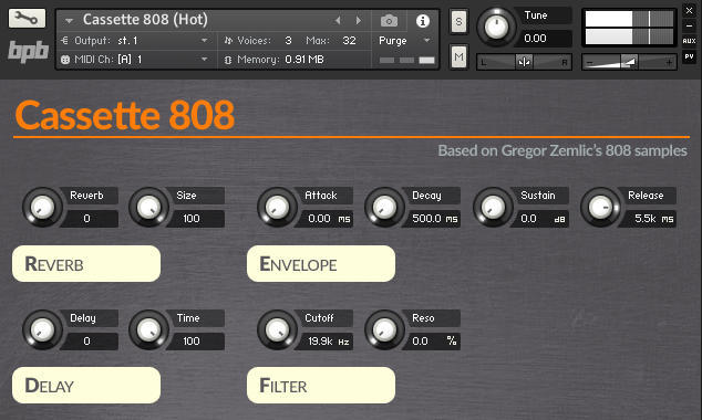 Cassette 808's Kontakt 5 user interface.