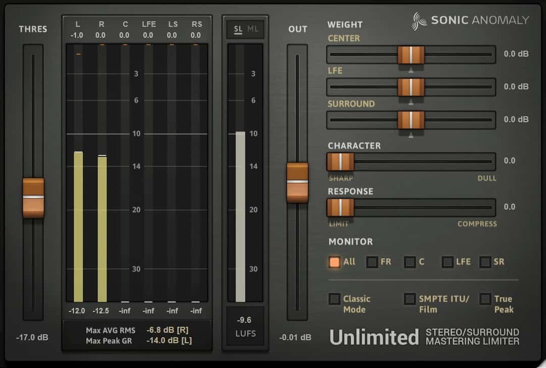 Unlimited mastering limited VST plugin by Sonic Anomaly
