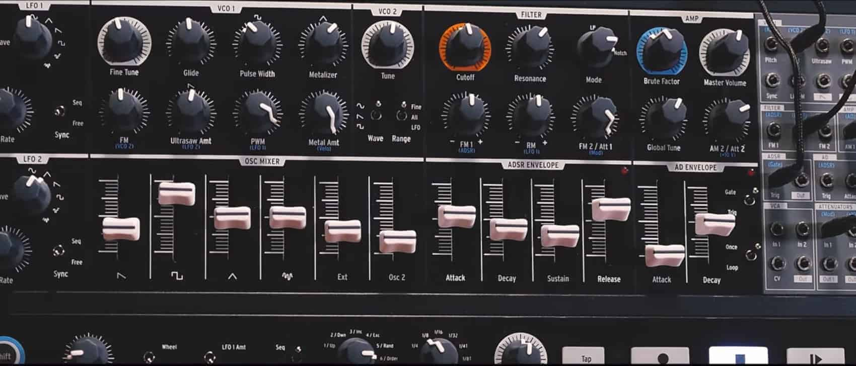 A closer look at the new MiniBrute 2 front panel.