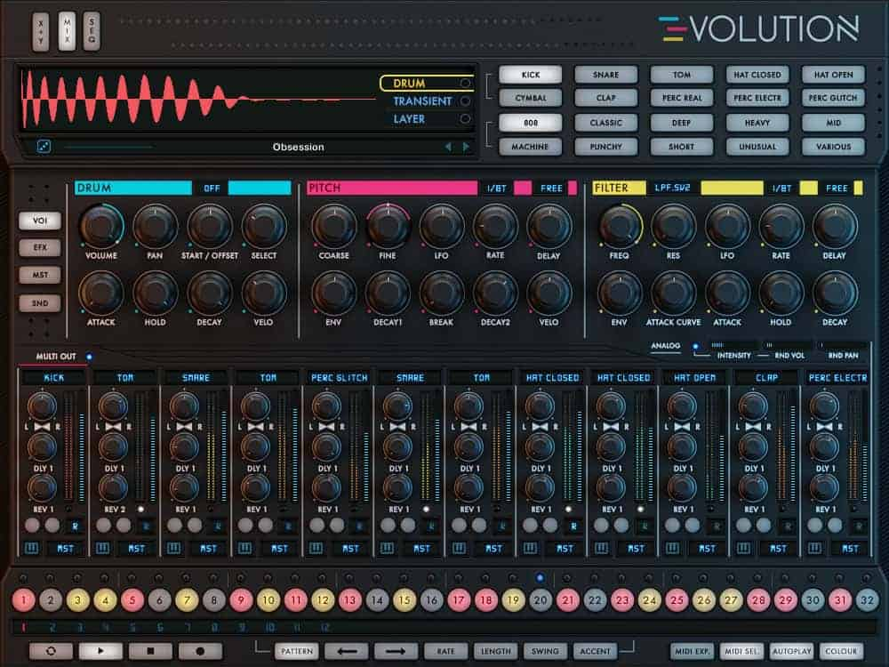 The Mix view hosts an array of tools for shaping the active drum channel.