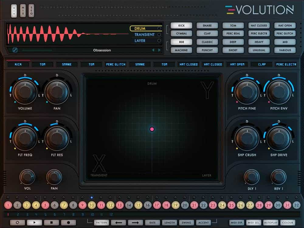 The main drum layering controls in Wave Alchemy Evolution.