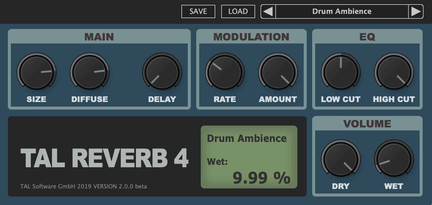 TAL-Reverb-4 Is A FREE Reverb VST/AU Plugin With 80s Character