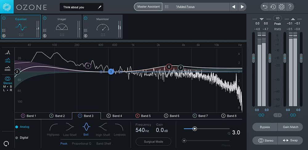 iZotope Ozone 8 Elements user interface with Master Assistant.