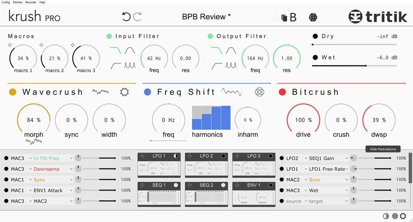 "KrushPro's modulation panel and the optional ""light"" color scheme."