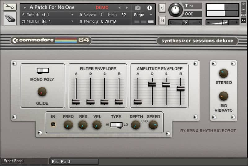 Kontakt Player demo mode in full glory - notice the big red DEMO notification.