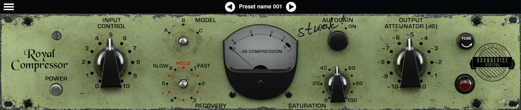 """The free """"2nd Hand"""" edition of Royal Compressor user interface."""