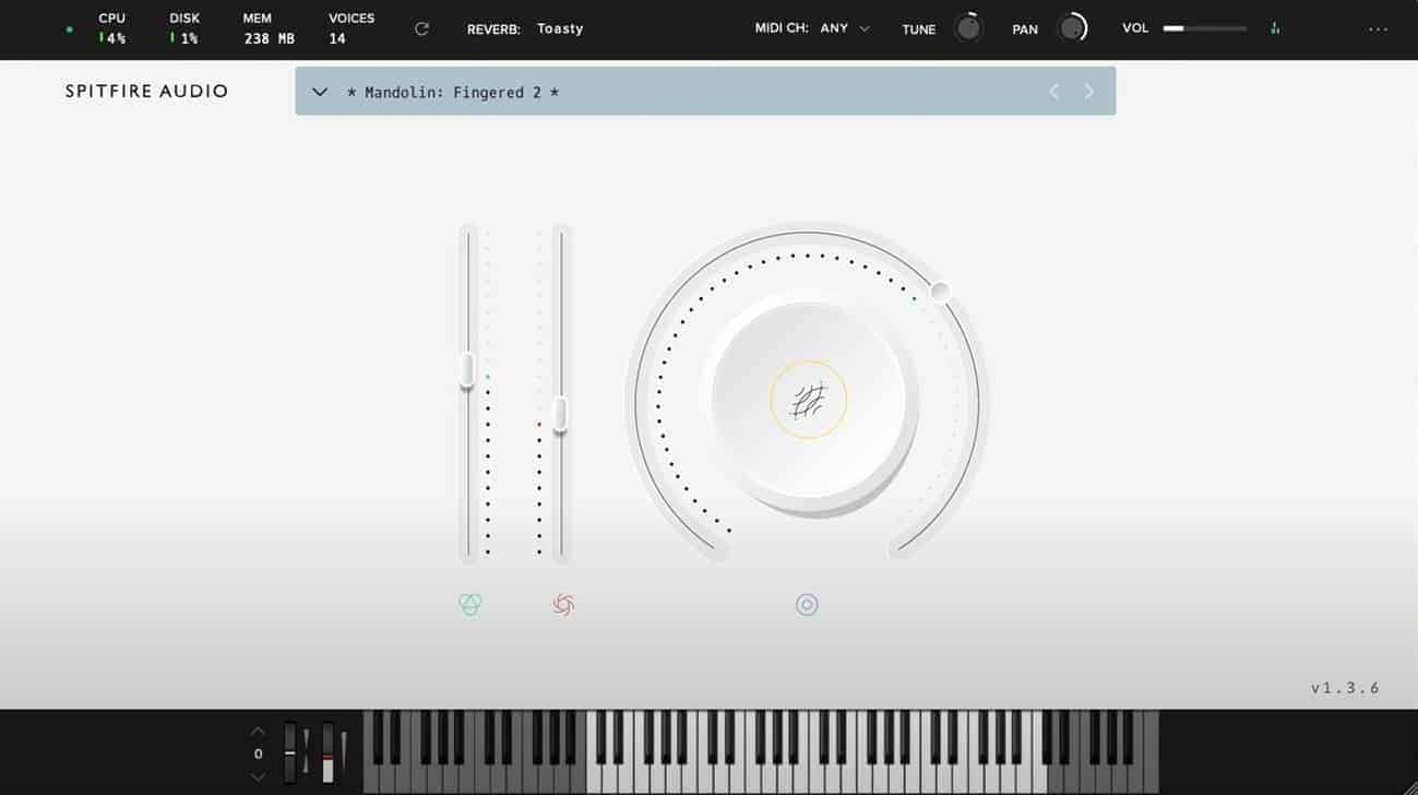 LABS Mandolin comes with a simple user interface.