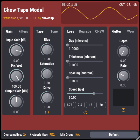 The updated CHOW Tape Model user interface looks much better.