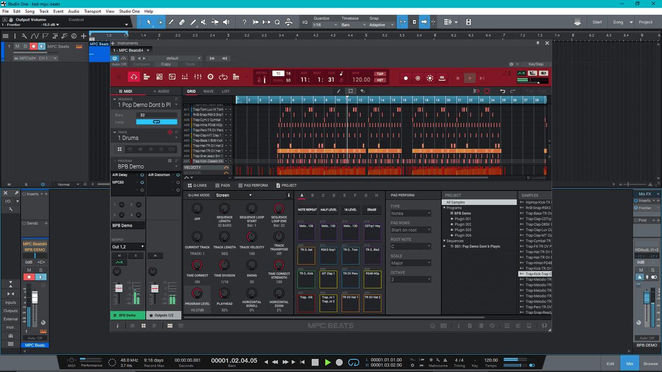 MPC Beats running as a VST plugin in PreSonus Studio One.
