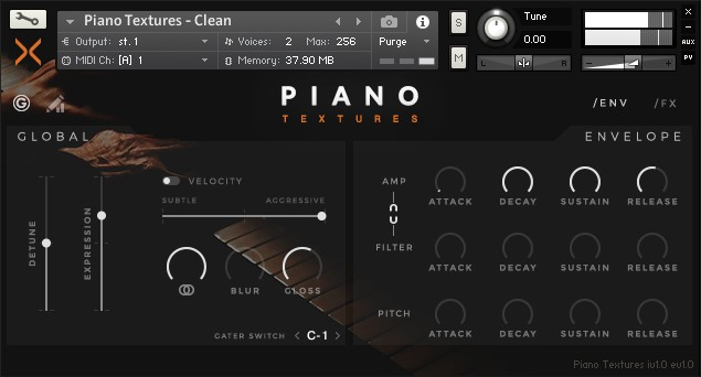 Piano Textures by Sonixinema comes with a custom front panel for Kontakt.