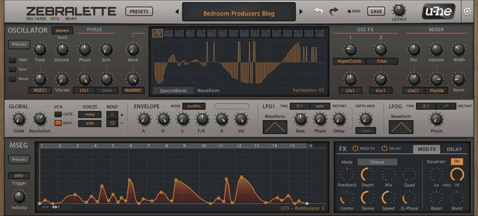 Zebralette by U-He - Free Synth VST Plugin