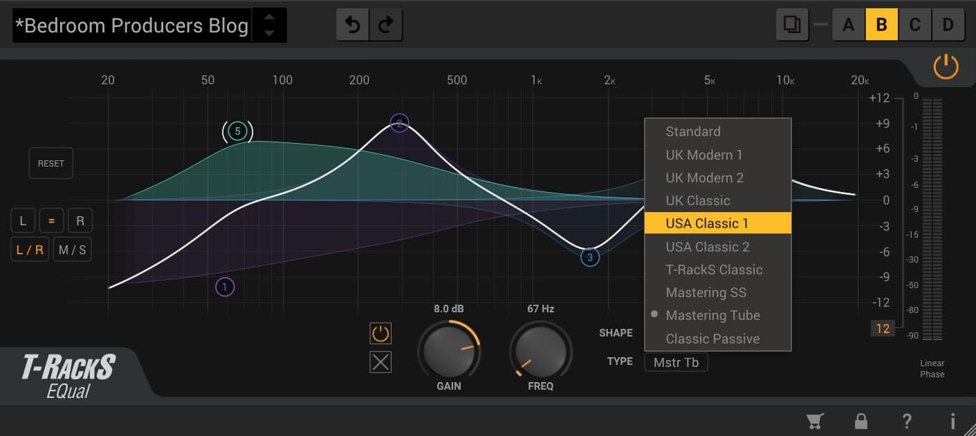 Multiple filter shapes and EQ modes are available for each band.