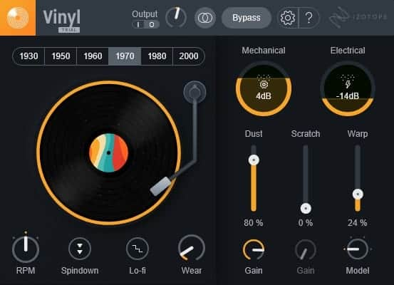 The updated iZotope Vinyl plugin looks and feels modern.