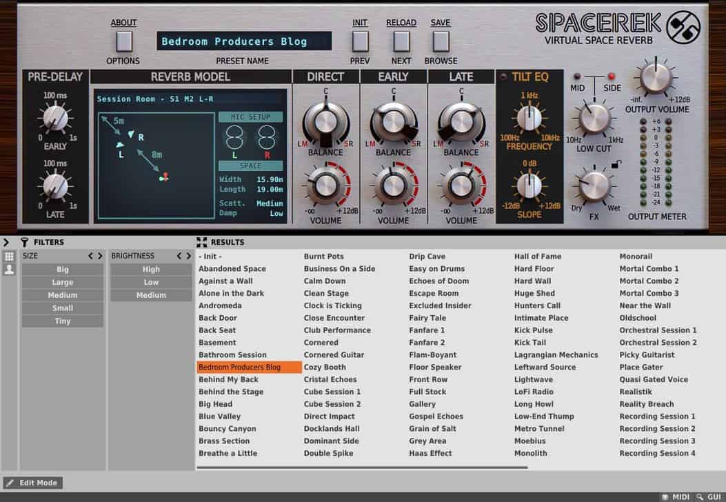 Spacerek comes with a fully-featured preset browser.