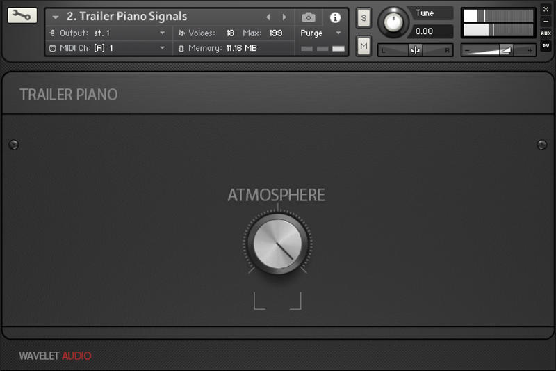 Trailer Piano Tools features a simple interface for NI Kontakt.