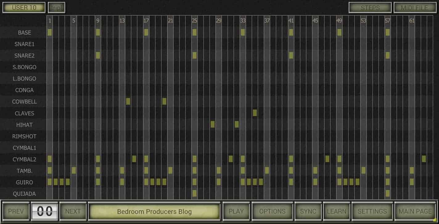 The drum sequencer is a welcome feature, but it can look quite busy.