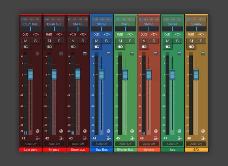Color coded audio channels in the Studio One mixer.