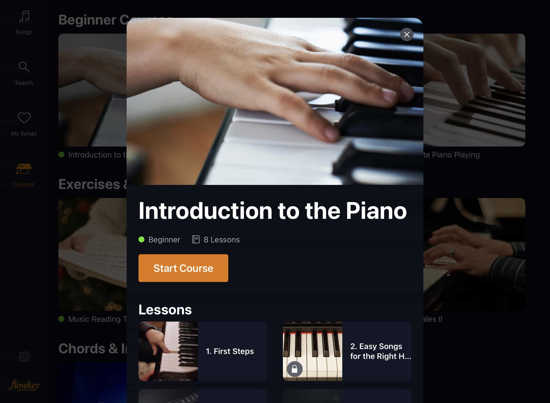 Flowkey includes piano and music theory courses.