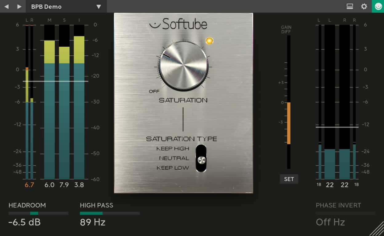Here's a close-up of the new Saturation Knob interface.